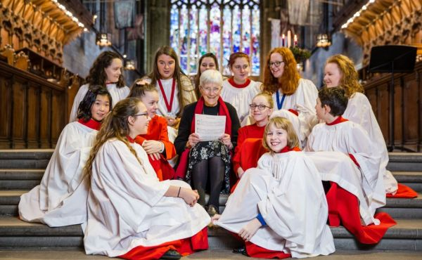 Mrs Catherine Murray with the Paisley Abbey choristers