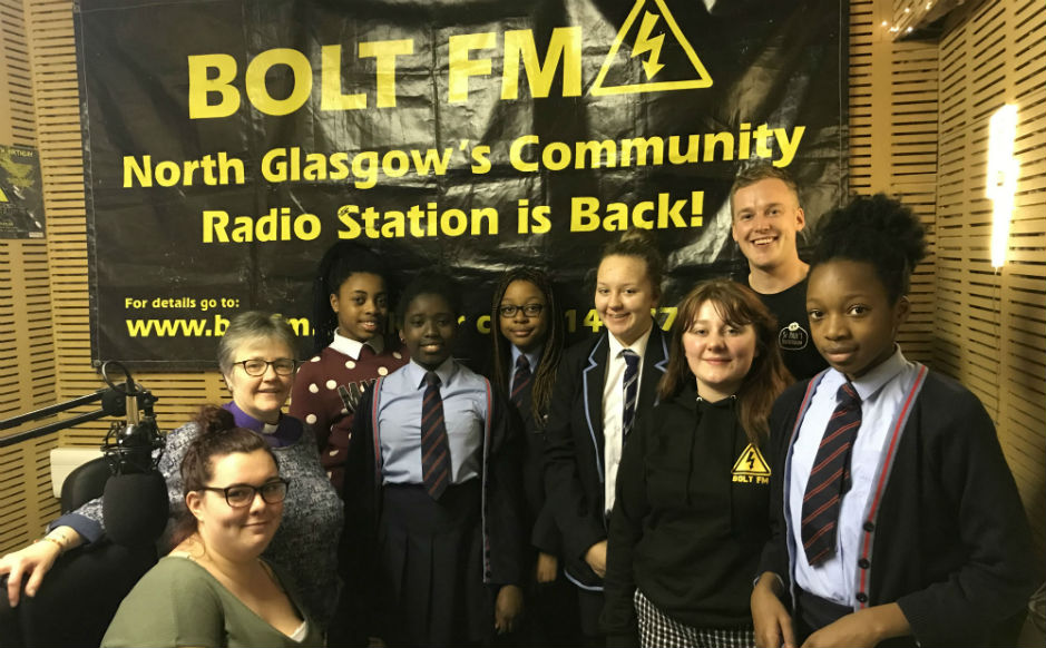 Rt Rev Susan Brown with young people in the studio of Bolt FM