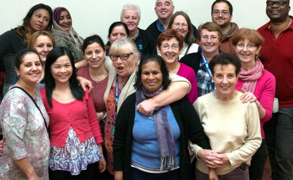 Group of people at St Rollox Church in Glasgow who have previously been funded by the Go For It fund
