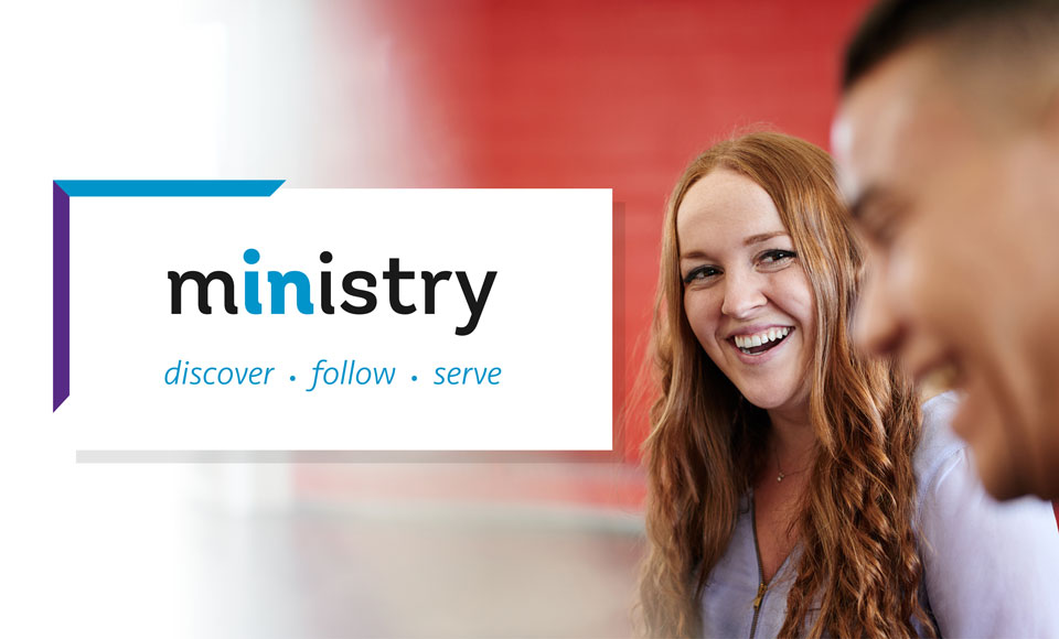 A woman next to a logo saying: ministry - discover, follow, serve.