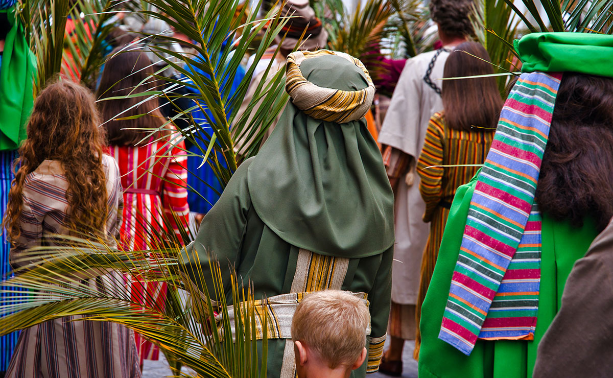Children in a Palm Sunday procession