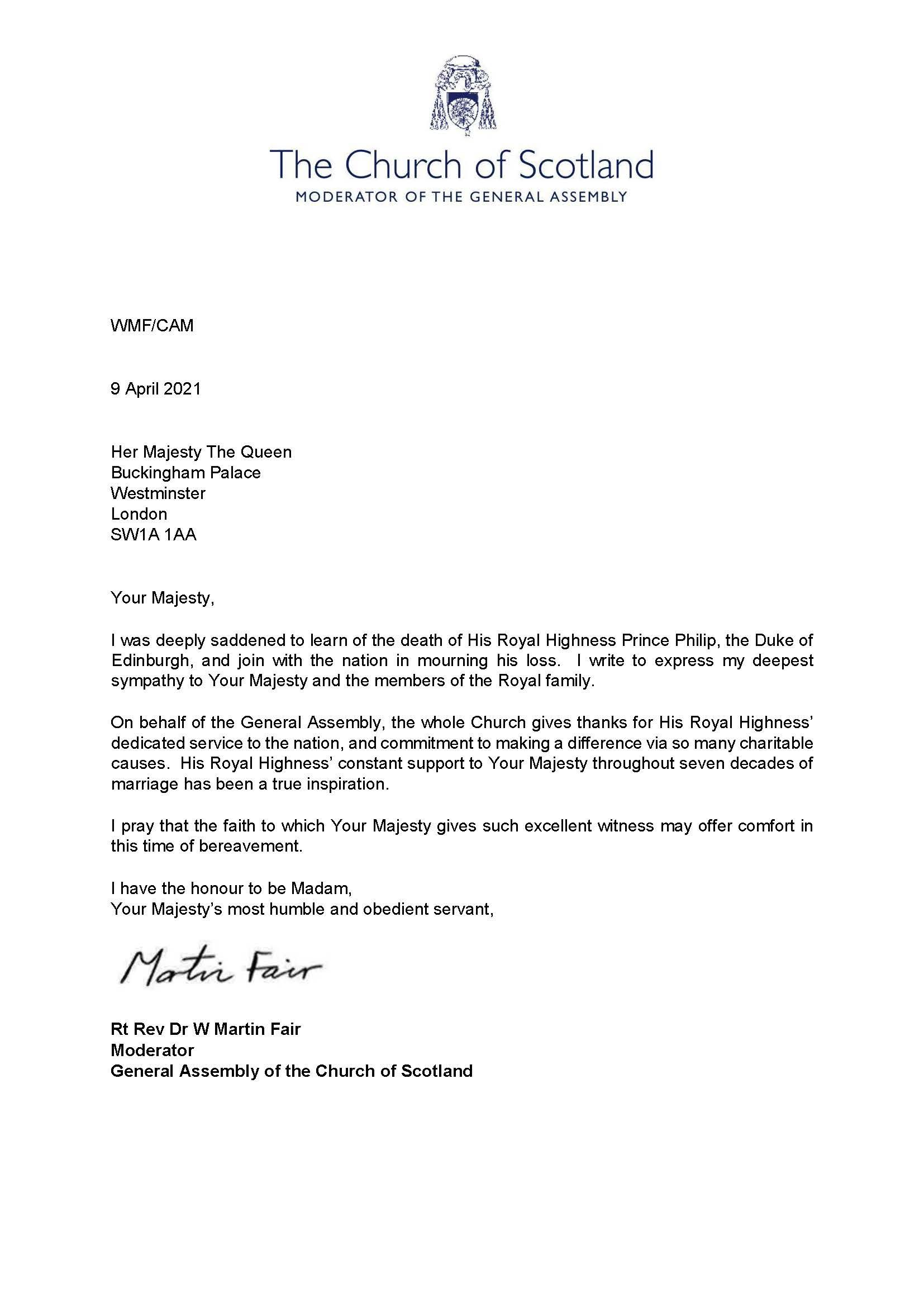 Letter to HM The Queen