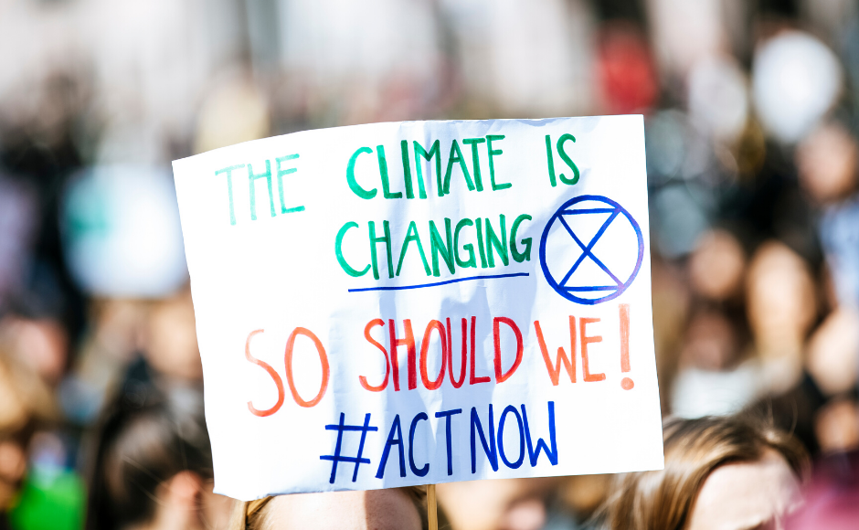 A sign at a climate protest