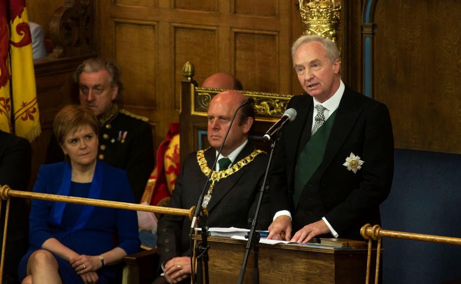 First minister listens to the Duke of Buccleuch speech