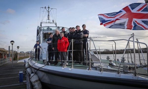 Rt Rev Susan Brown during her visit to Glasgow and Strathclyde University Royal Navy Unit, sailing on the River Clyde
