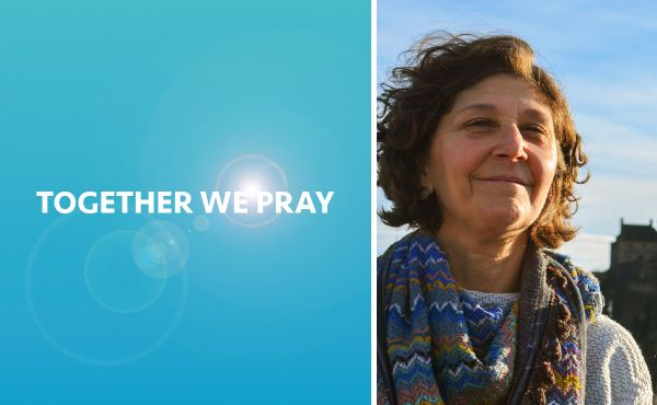 Sally Foster-Fulton beside the words Together We Pray