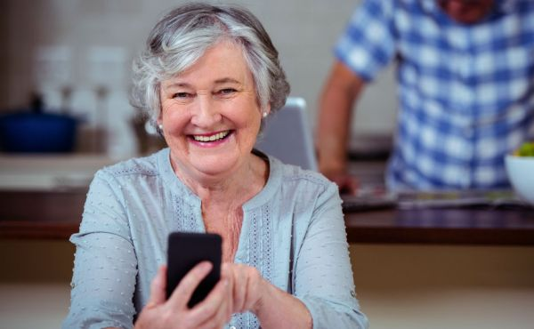 Lady holding a mobile phone