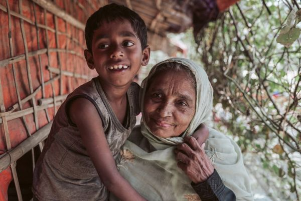 A boy with his grandmother