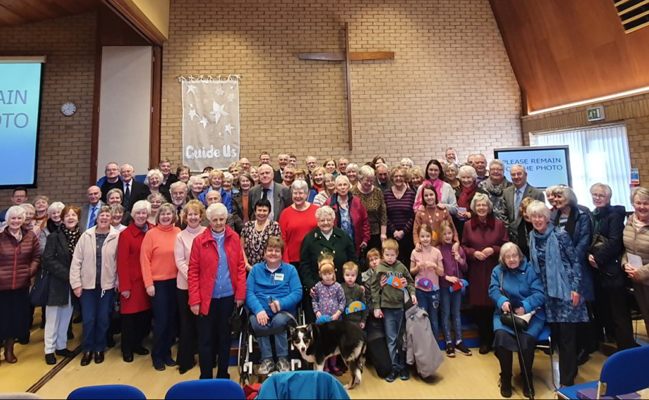 Dalgety Parish Church some of the congregation