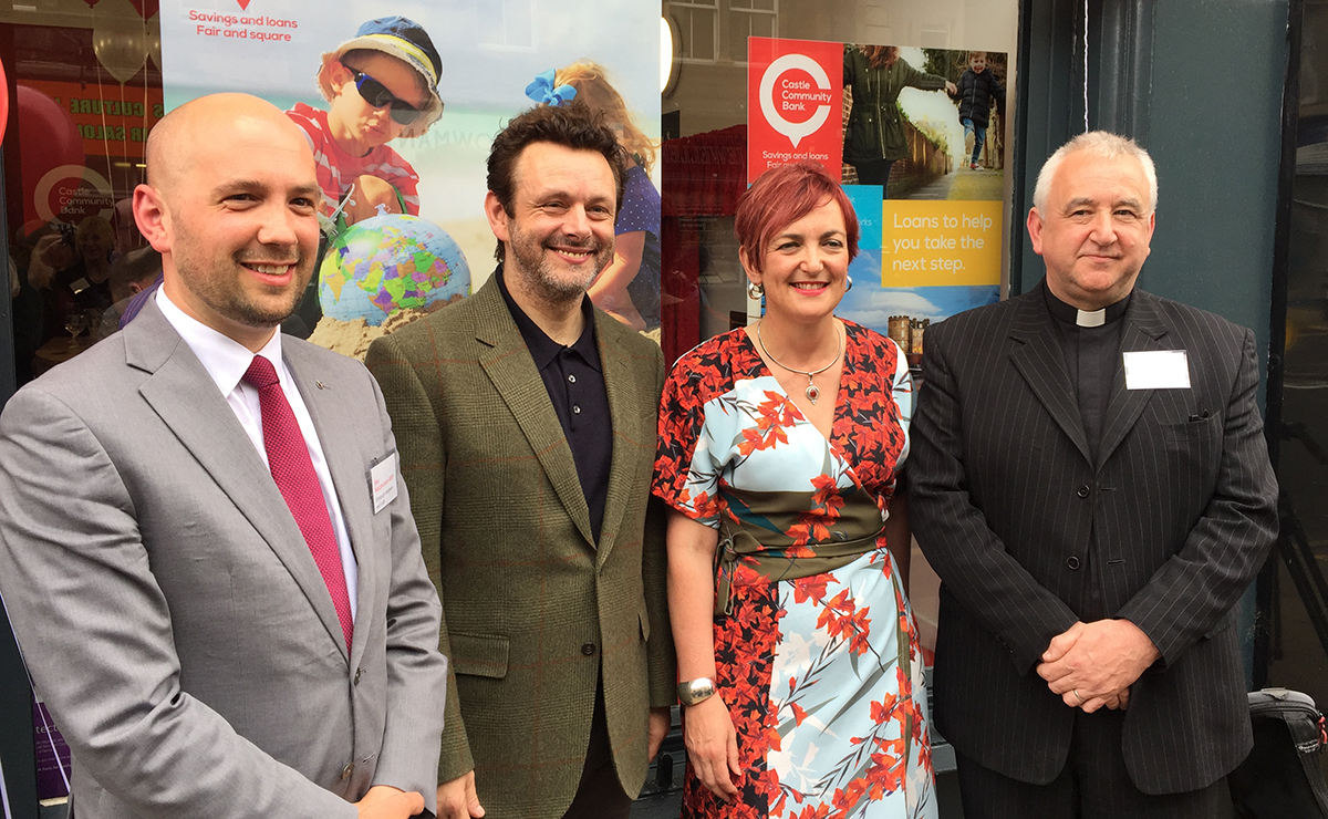 Ben Macpherson, MSP for Edinburgh Northern and Leith, Michael Sheen, Cabinet Secretary for Communities, Angela Constance MSP and Rev Iain May