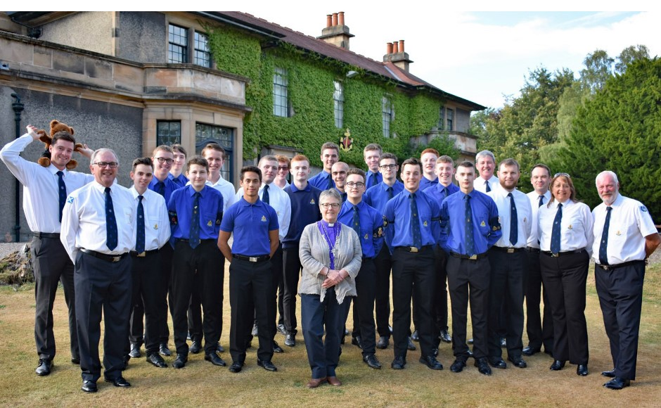 Moderator with Boys Brigade at Carronvale