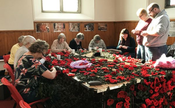Making the poppies