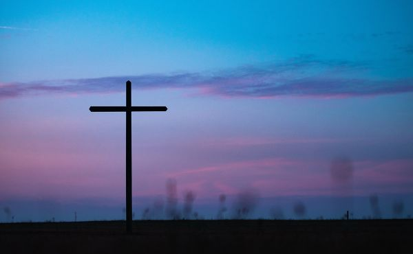 Cross and pink sunset