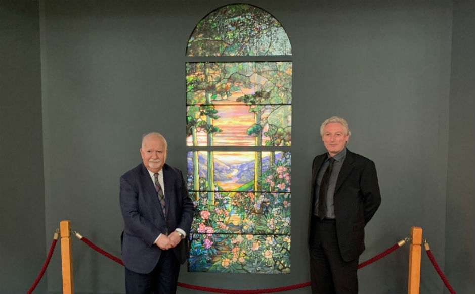 Vartan Gregorian, President of Carnegie Corporation of New York , who helped to support the installation of the window, and Mark Bamburgh of the Scottish Glass Studios, who were responsible for the conservation of the window prior to installation