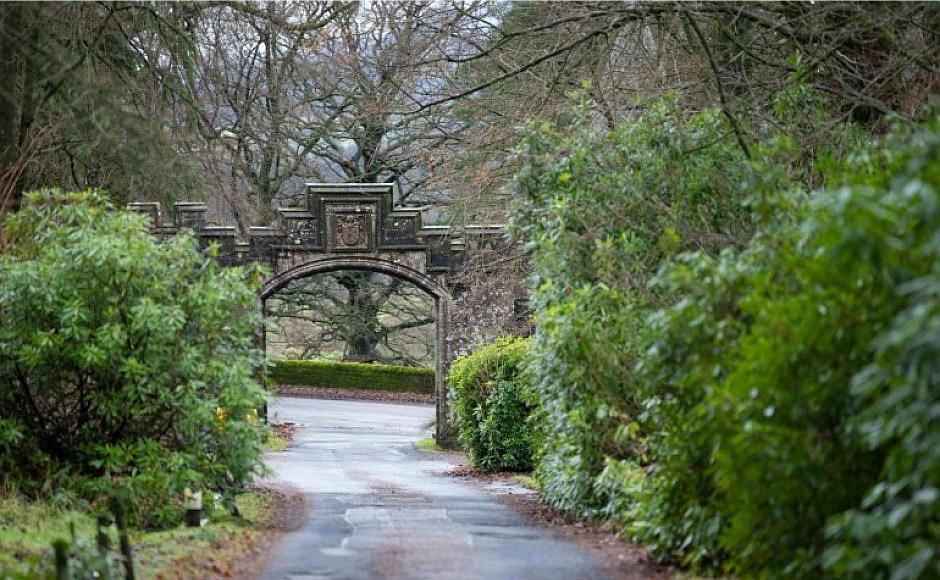 Gate and driveway into Ballikinrain