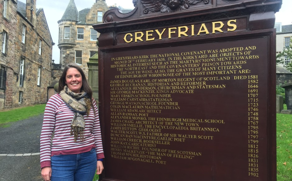 Parish associate Gillian Couper in Greyfriars Kirkyard