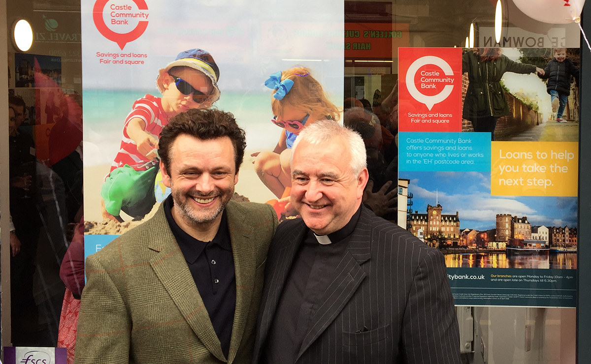 Michael Sheen and Rev Iain May of South Leith Parish Church