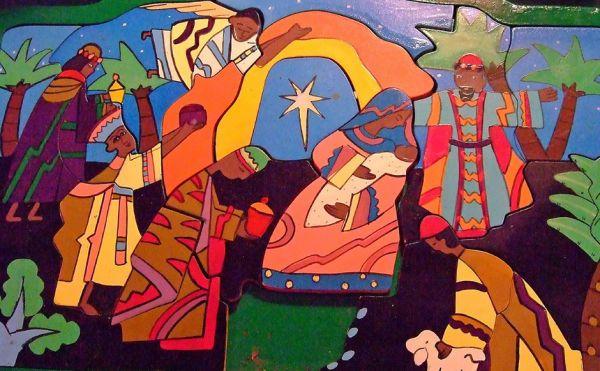 Nativity scene colourful