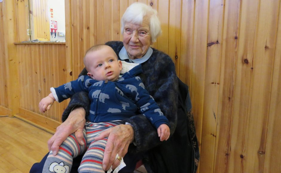 Mona Brown 101, with baby Alister at Acharachle and Ardnamurchan Messy Church