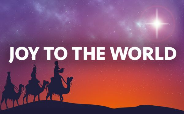 A graphic saying Joy To The World with three wise men