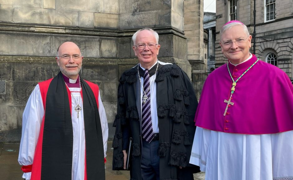 The Moderator, Lord Wallace with Rt Rev Joh Armes and Archbishop Leo Cushley