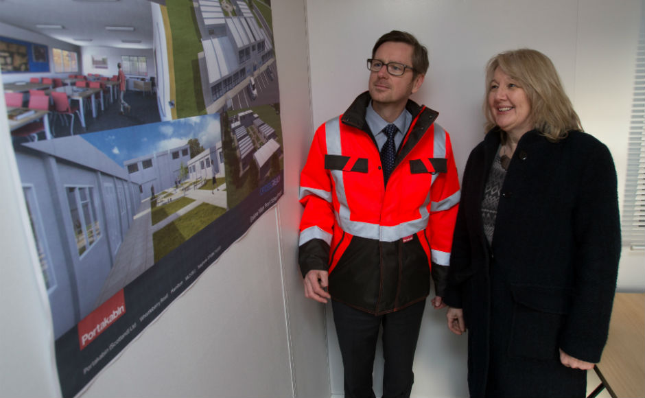 CrossReach chief executive Viv Dickenson with Gregor Hood regional hire manager for Portakabin in Scotland