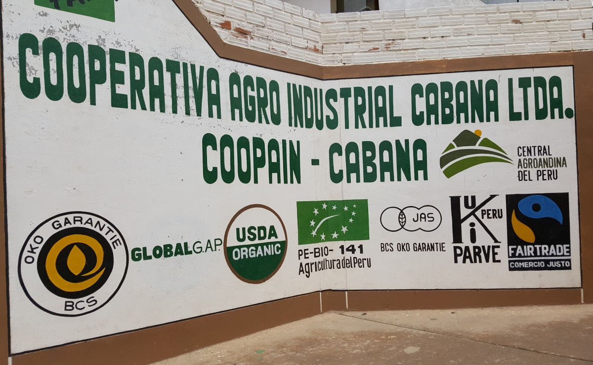 Fairtrade sign in Peru