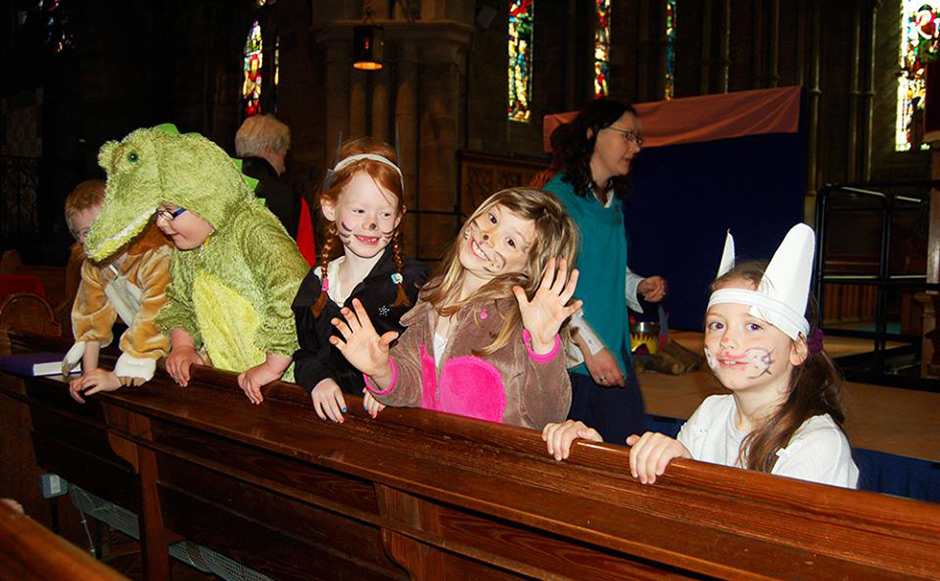 Children enjoying storytelling at Brechin Cathedral
