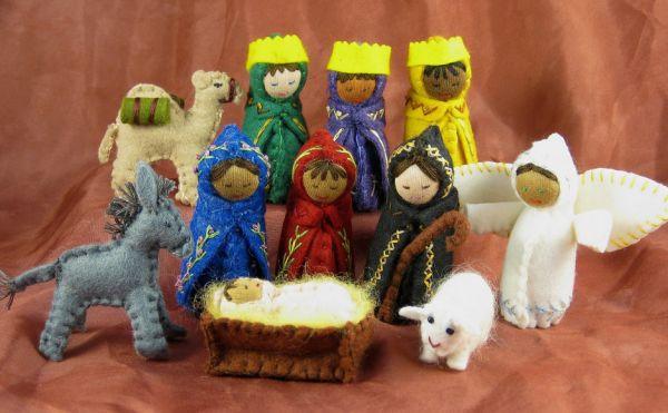 Nativity scene knitted