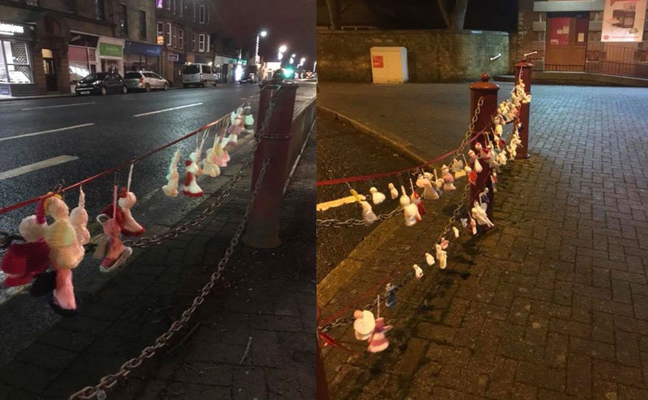 Knitted angels outside in the street