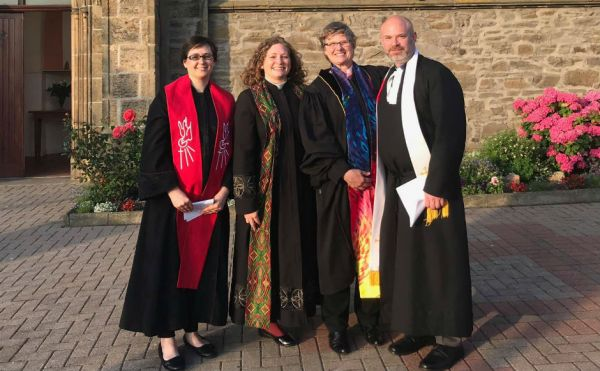 Rev Wes Brandon with other recent transfers from the PCUSA (L-R) Rev Holly Smith (Mid Deeside Church), Rev Teri Peterson (Gourock St John's Church) and Rev Laurene Lafontaine (Kingswells Church)