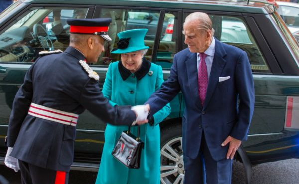 Prince Philip visiting St Columba's Church of Scotland in London in 2015 with HM The Queen