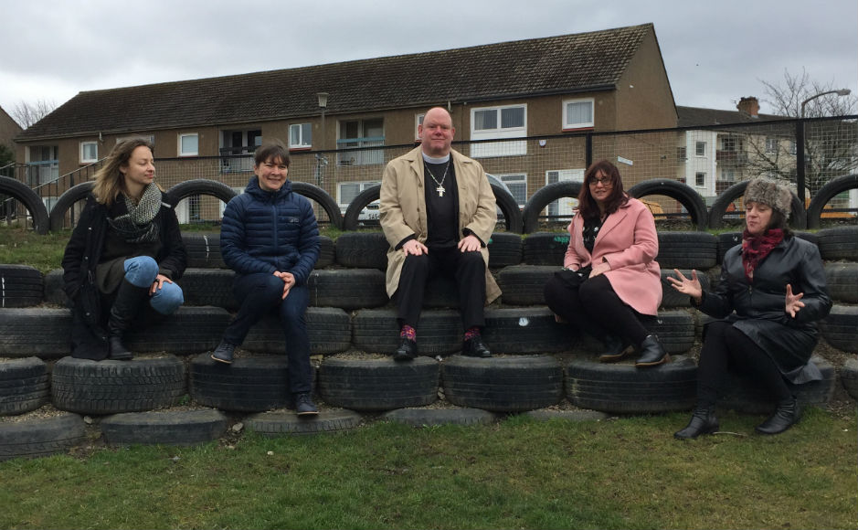 One stage of the project included making a community amphitheater from tyres