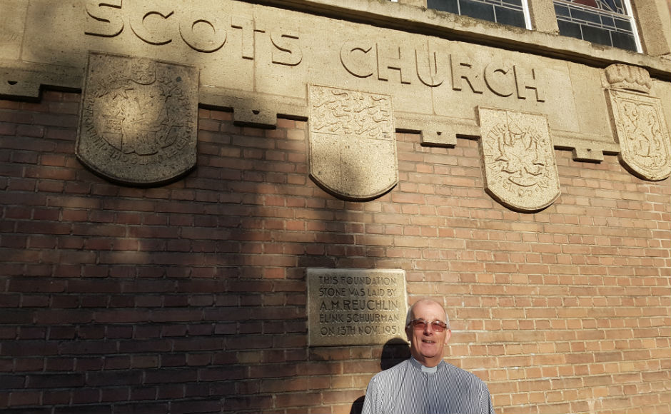 Rev Derek Lawson outside the Scots International Church in Rotterdam
