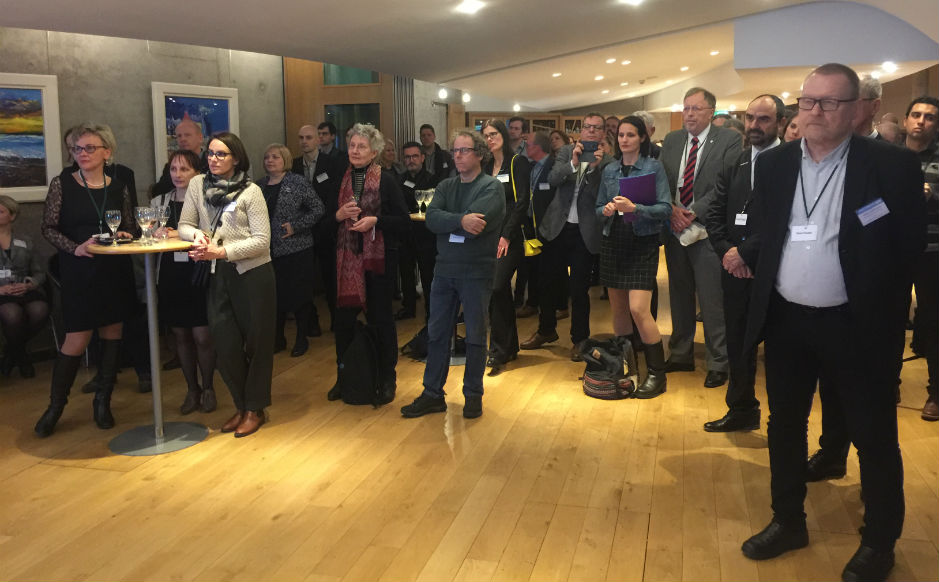 The reception for Eurodiaconia at the Scottish Parliament. Those attending were from 32 different countries across Europe.