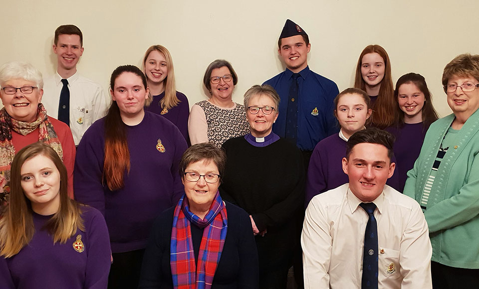 Members of the Girls' Brigade Scotland, The Boys' Brigade and the Guild at the launch of the Big Footprint