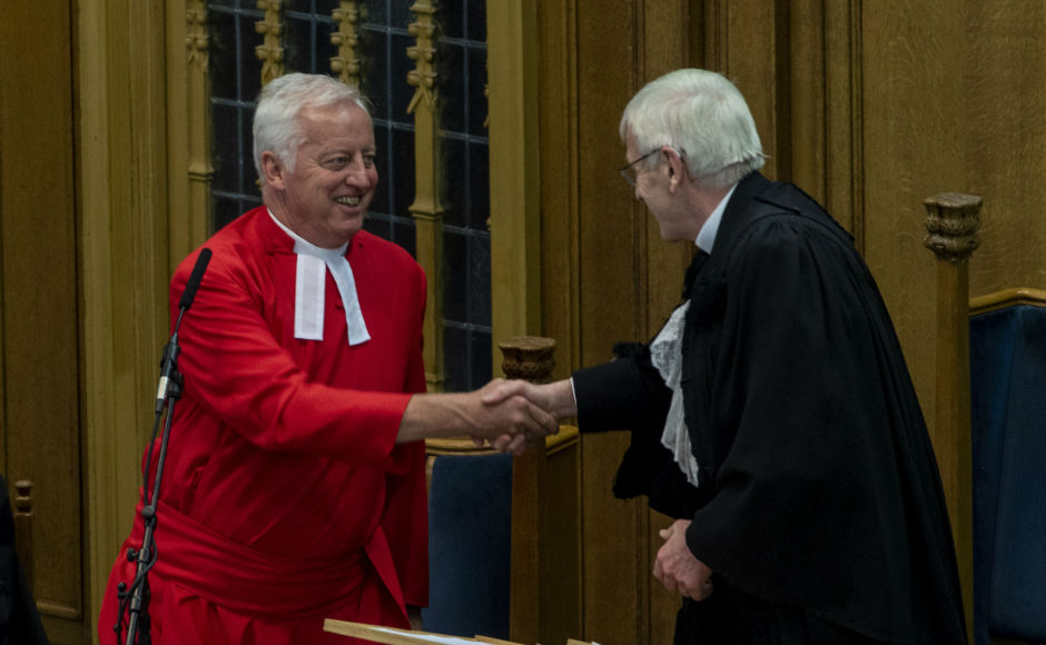 Rev Dr George Whyte was congratulated by Rt Rev Colin Sinclair
