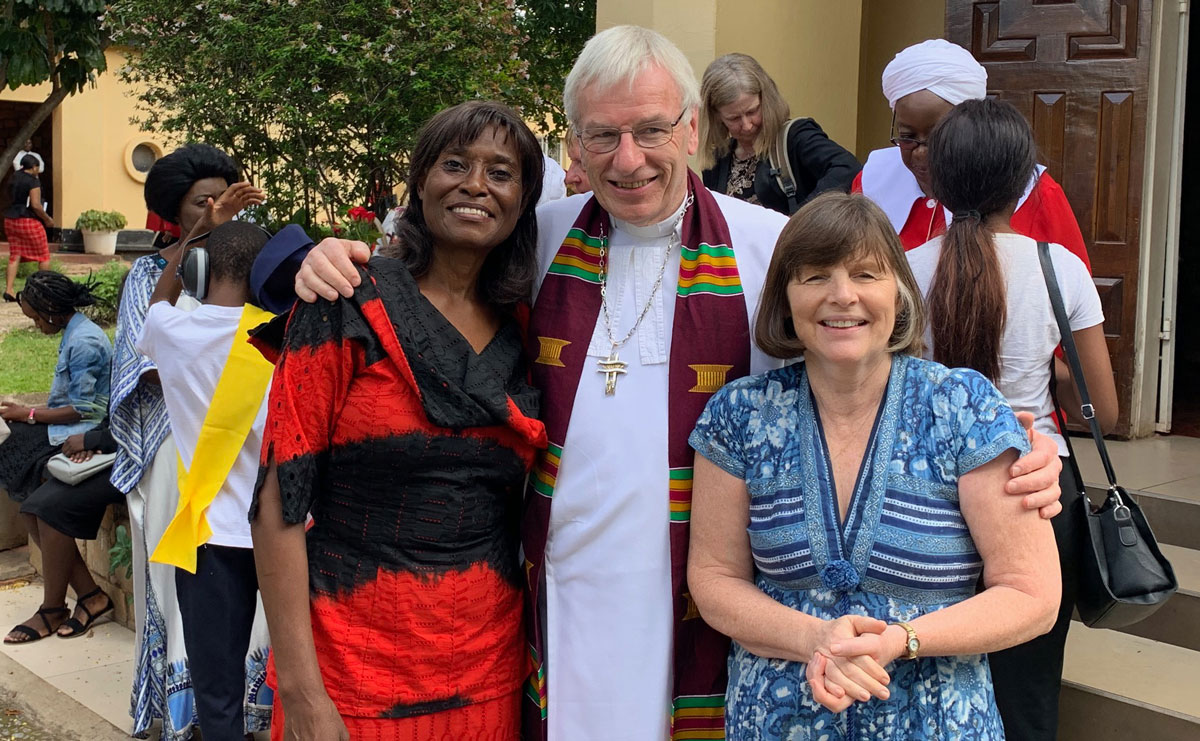 Rt Rev Colin Sinclair with Lucie Kasanga and his wife Ruth