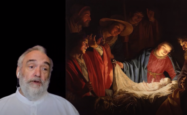 Rev Alec Shuttleworth next to a picture of baby Jesus