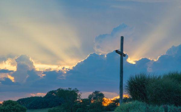 A cross at dawn