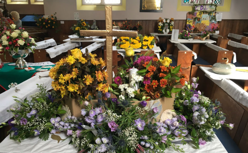 Some of the flowers displayed in the church