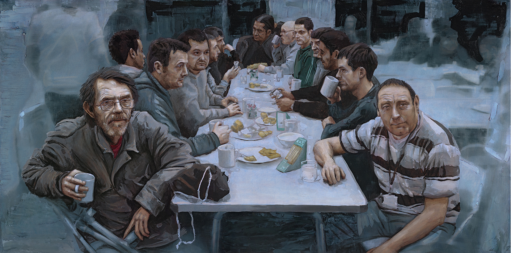 I.D Campbell's Our Last Supper, featuring guests of Glasgow City Mission, was painted in 2015