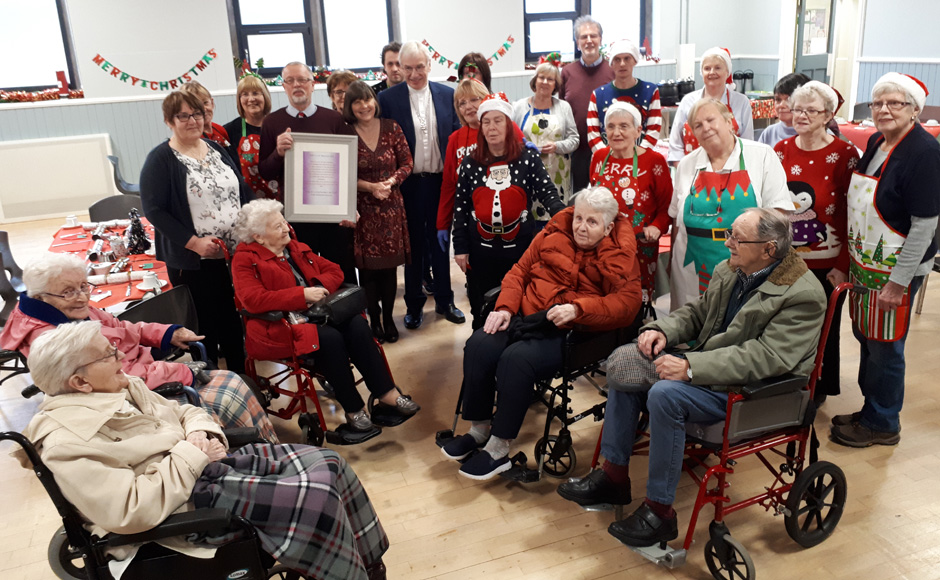 The Moderator with a group of care home residents who attend the weekly cafe