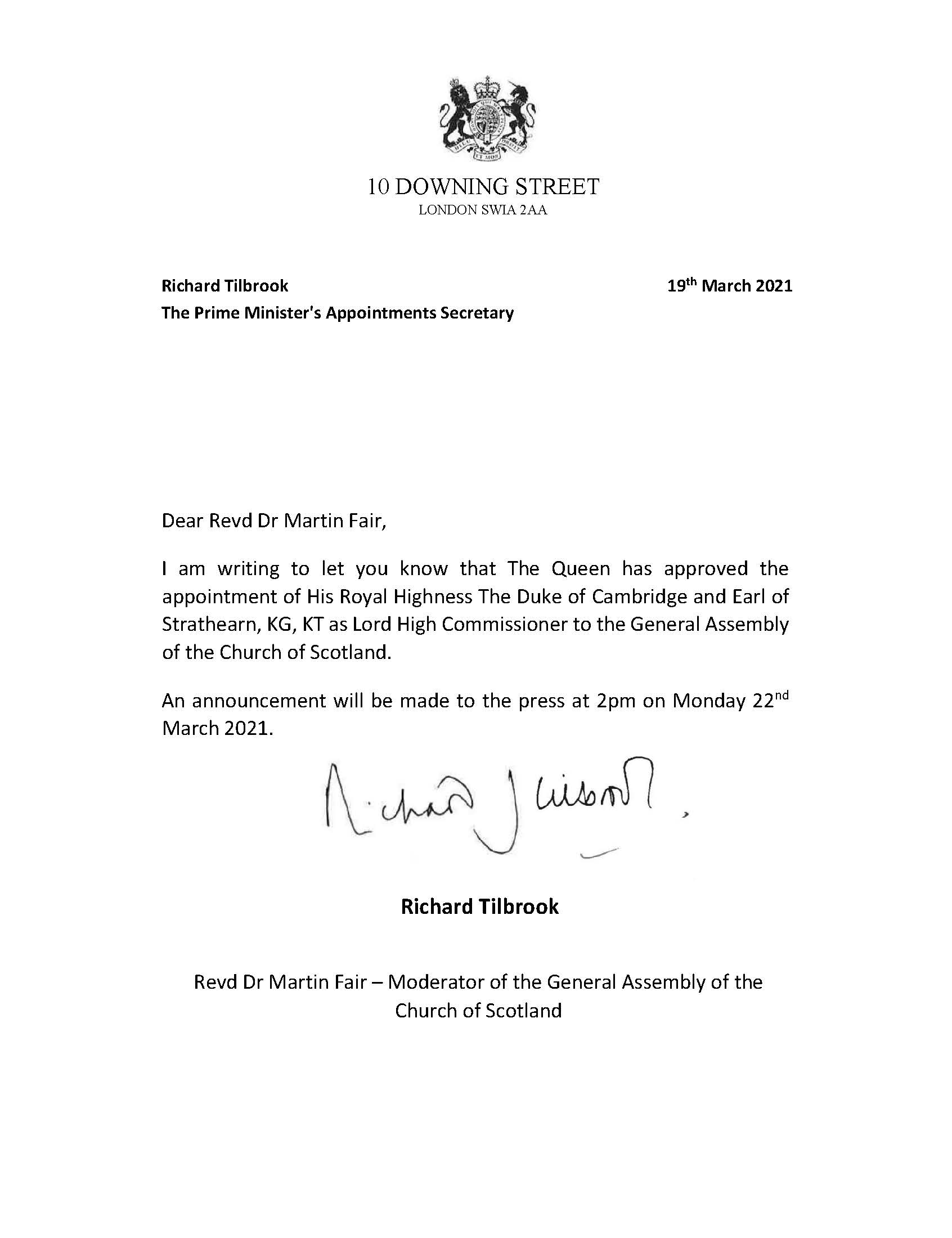 Announcement letter from 10 Downing Street