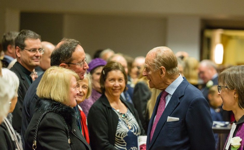 Prince Philip visiting St Columba's Church of Scotland in London in 2015