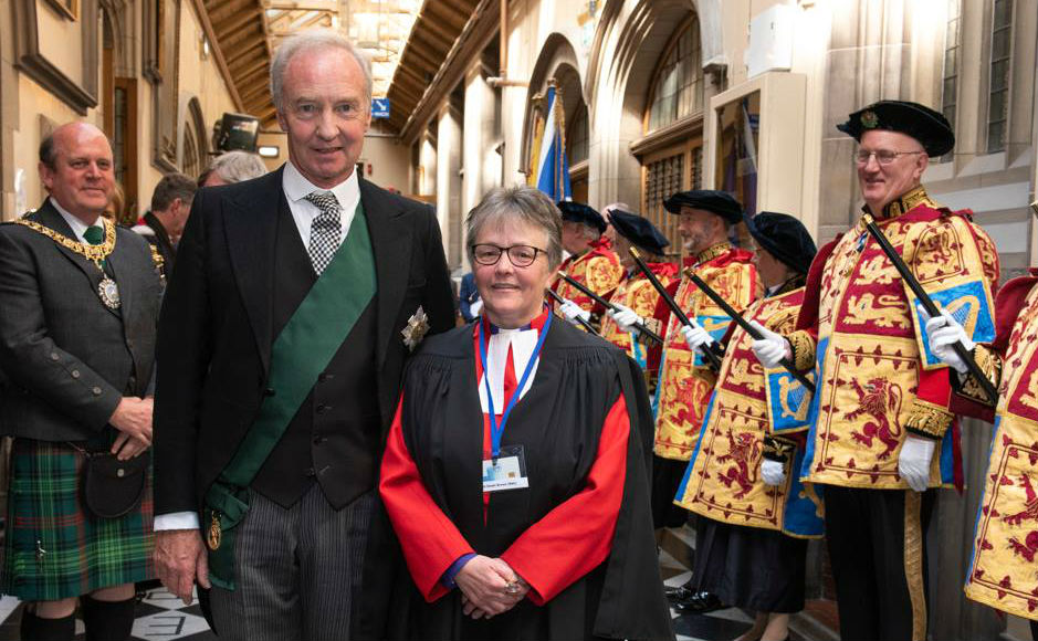 The Duke of Buccleuch with Rt Rev Susan Brown