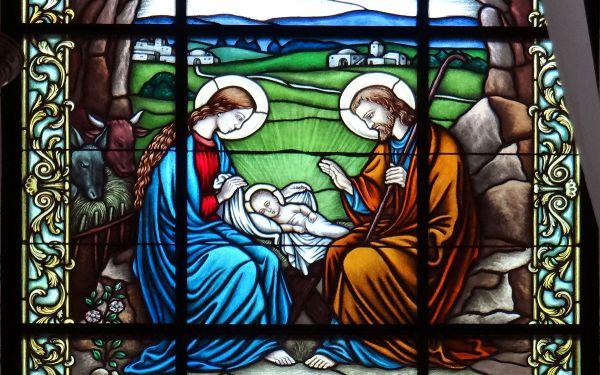 Nativity scene stained glass window