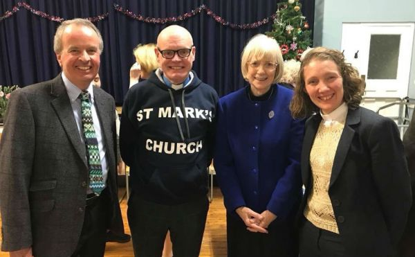 Group photo with Session Clerk David Russell, Rev Barry Hughes wearing the hoodie he was presented with, Jean Porter DCS and Rev Ellen Larson Davidson