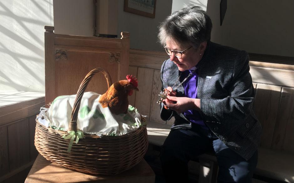 Rt Rev Susan Brown and Henrietta the hen