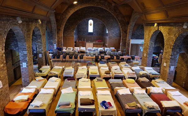 An image of the beds in the church